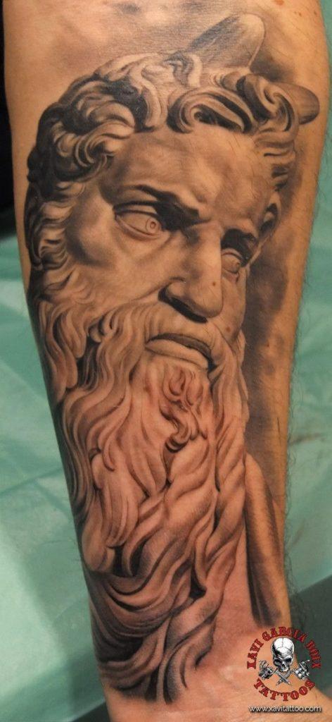xavi garcia boix tattoo retrato realismo portrait realism tatuaje valencia diversos random-Moses-moises cristianismo cristianism sculpture escultura