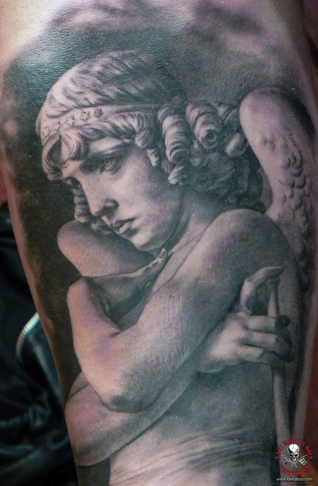 xavi garcia boix tattoo retrato realismo portrait realism tatuaje valencia diversos random angel-01 sculpture escultura