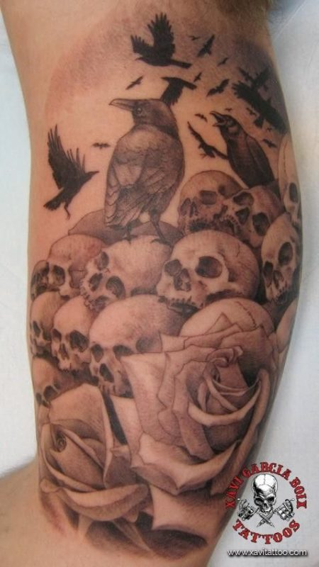 xavi garcia boix tattoo retrato realismo portrait realism tatuaje valencia diversos random cuervo calaveras rosas skull raven roses