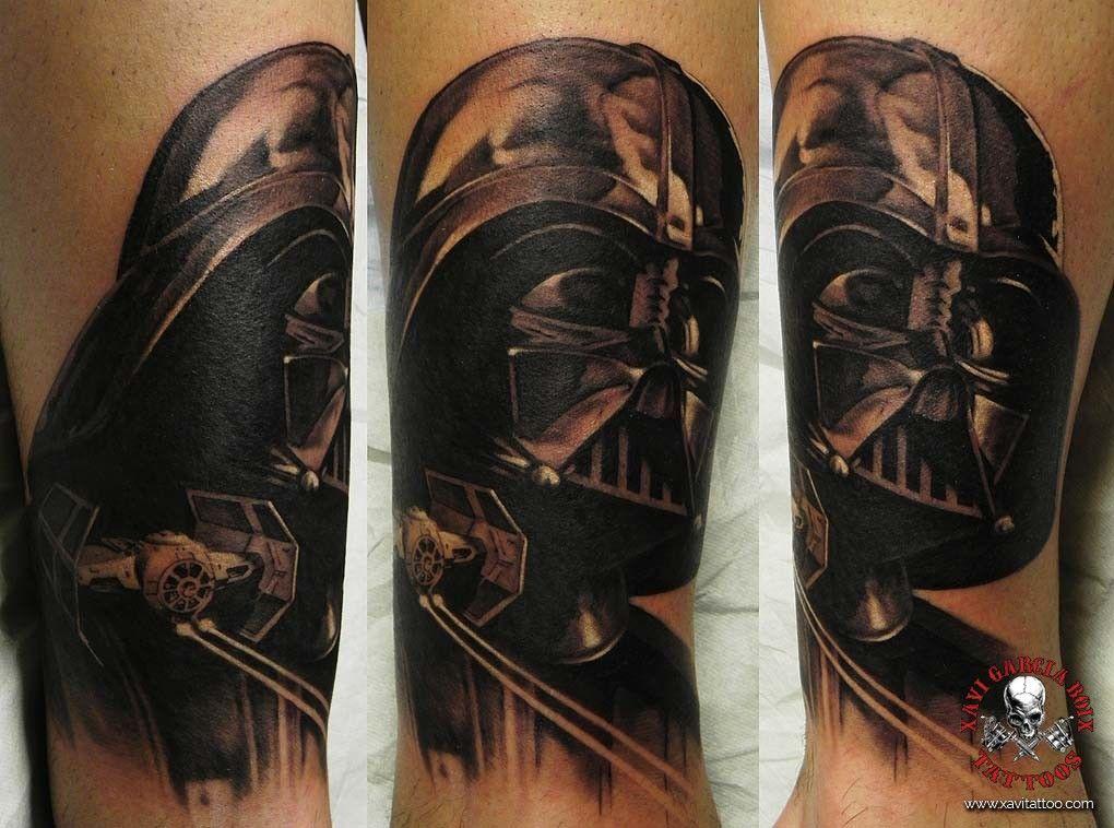 xavi garcia boix tattoo retrato realismo portrait realism tatuaje valencia diversos random darth vader star wars mandalorian disney