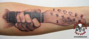 xavi garcia boix tattoo retrato realismo portrait realism tatuaje valencia diversos random fender telecaster guitarra guitar