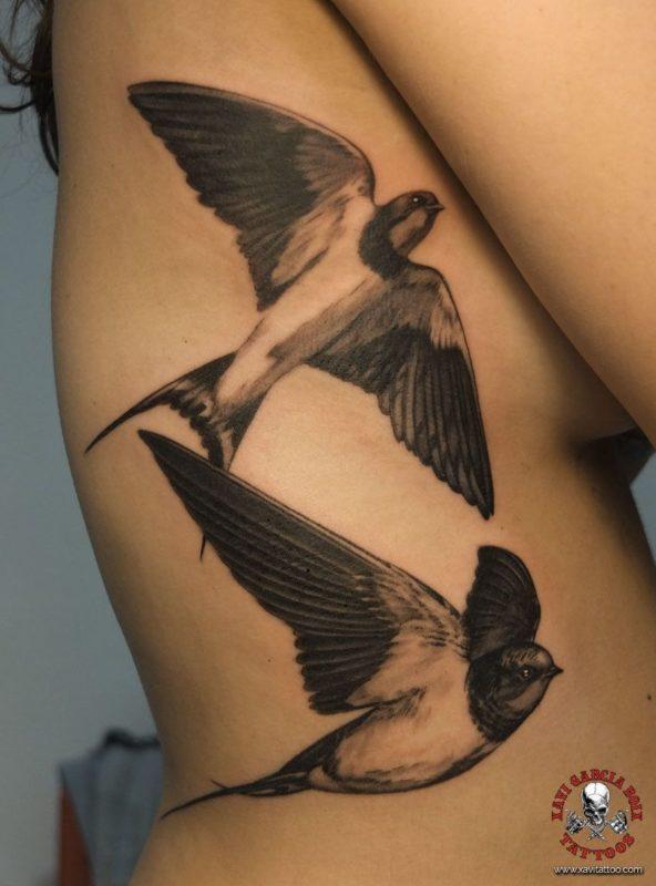 xavi garcia boix tattoo retrato realismo portrait realism tatuaje valencia diversos random golondrinas swallow naturaleza animales nature animals