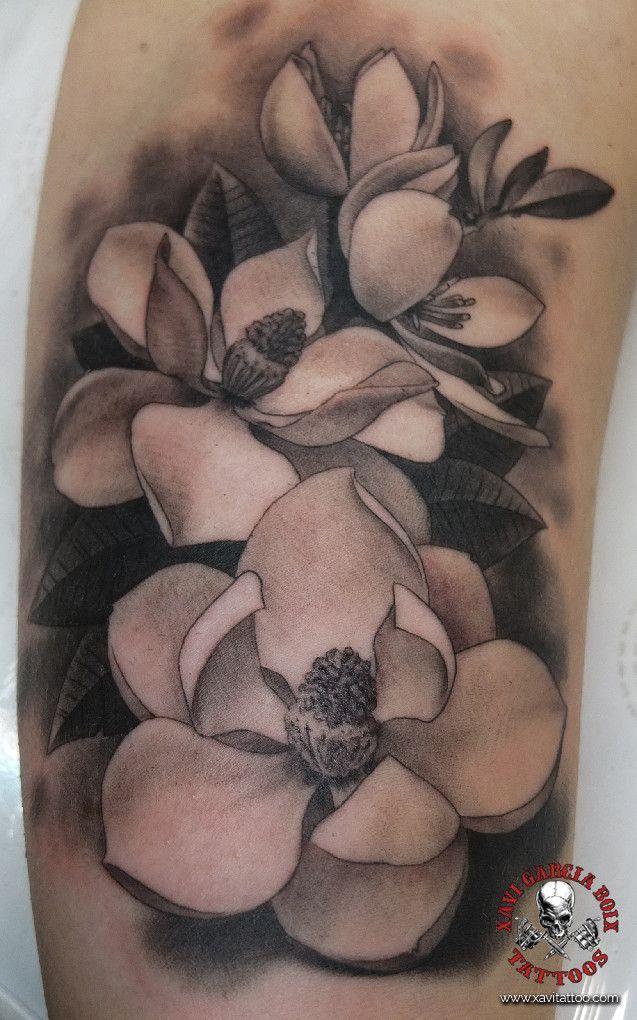 xavi garcia boix tattoo retrato realismo portrait realism tatuaje valencia diversos random magnolias naturaleza animales nature animals flowers flores