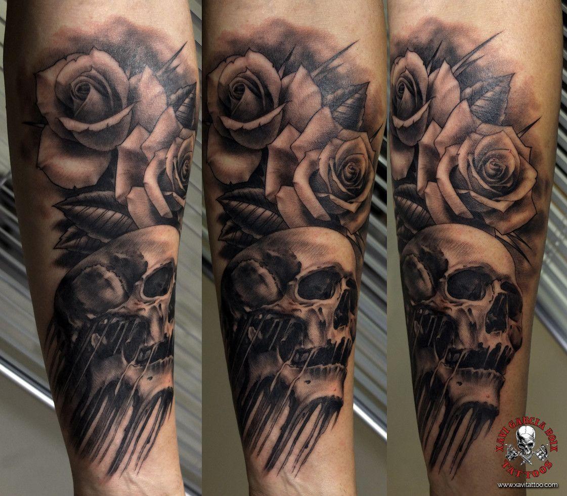 xavi garcia boix tattoo retrato realismo portrait realism tatuaje valencia diversos random roses skull rosas calavera