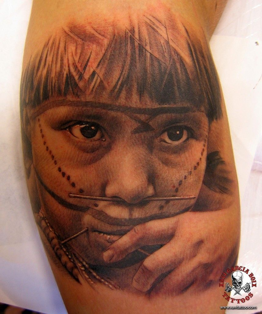 xavi garcia boix tattoo retrato realismo portrait realism tatuaje valencia diversos random yanomami