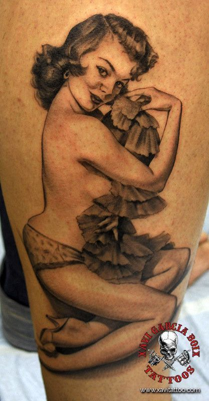 xavi garcia boix tattoo retrato realismo portrait realism tatuaje valencia pin ups girls chicas Maid Pin Up charming 50s