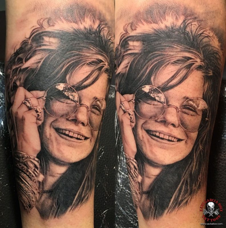 xavi garcia boix tattoo retrato realismo portrait realism tatuaje valencia tatuajes personajes famosos famous characters JANIS-JOPLIN-03
