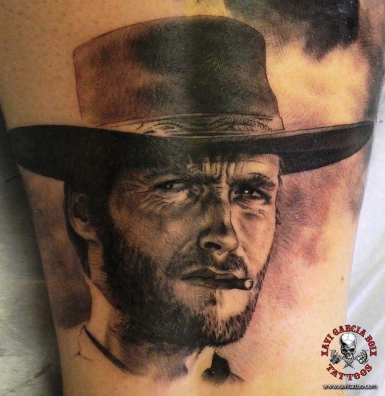 xavi garcia boix tattoo retrato realismo portrait realism tatuaje valencia tatuajes personajes famosos famous characters el bueno el feo y el malo Clint Eastwood-01