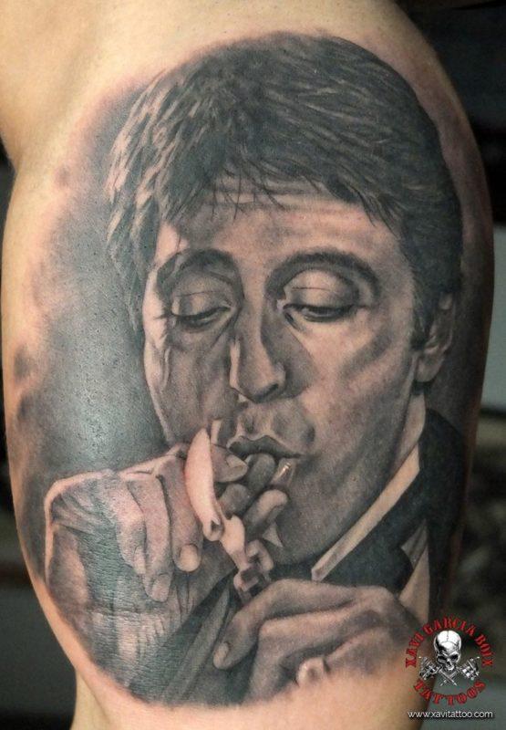 xavi garcia boix tattoo retrato realismo portrait realism tatuaje valencia tatuajes personajes famosos famous characters el precio del poder scarface Al Pacino-01