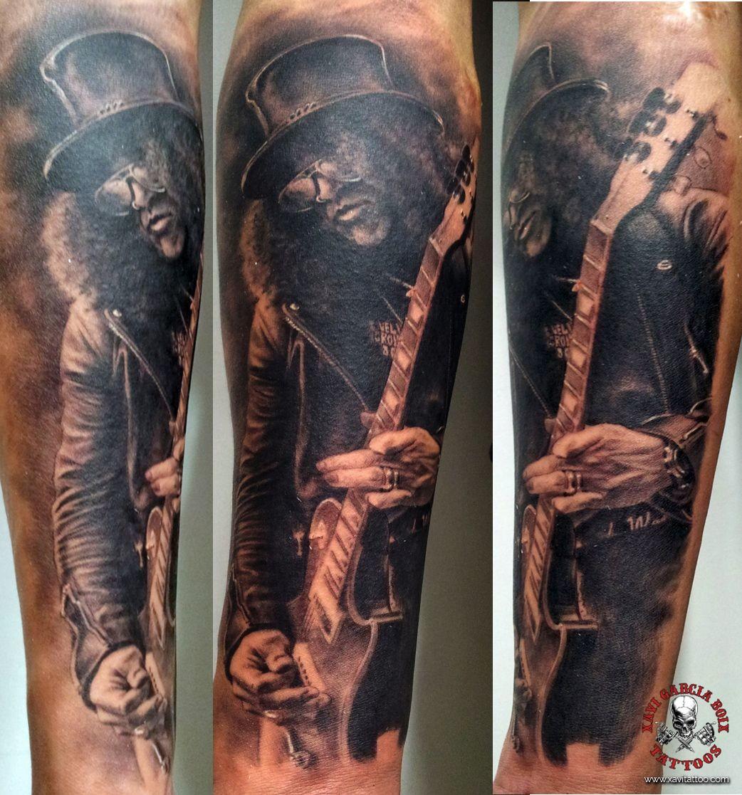 xavi garcia boix tattoo retrato realismo portrait realism tatuaje valencia tatuajes personajes famosos famous characters guns and roses slash-01