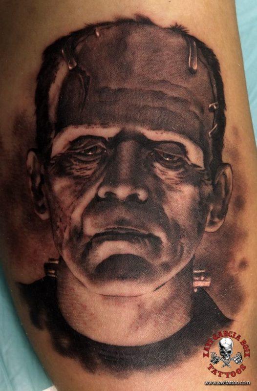 xavi garcia boix tattoo retrato realismo portrait realism tatuaje valencia tatuajes personajes famosos famous characters karloff frankestein 01