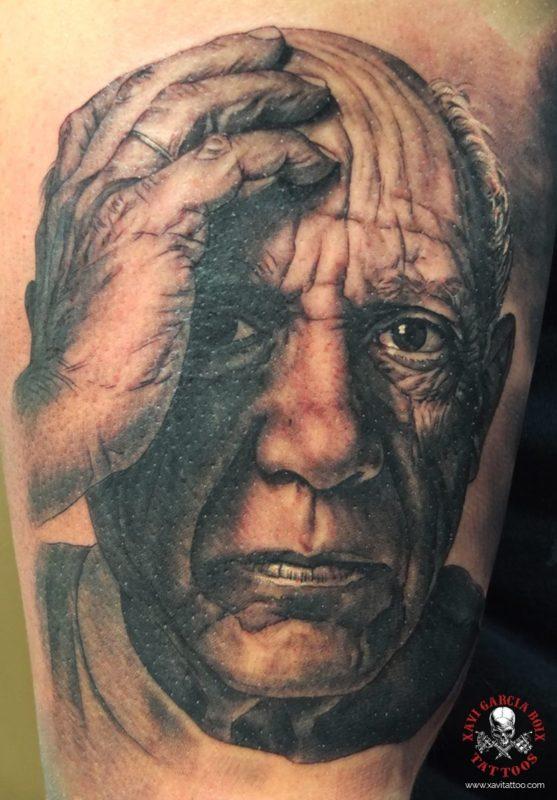 xavi garcia boix tattoo retrato realismo portrait realism tatuaje valencia tatuajes personajes famosos famous characters pablo picasso