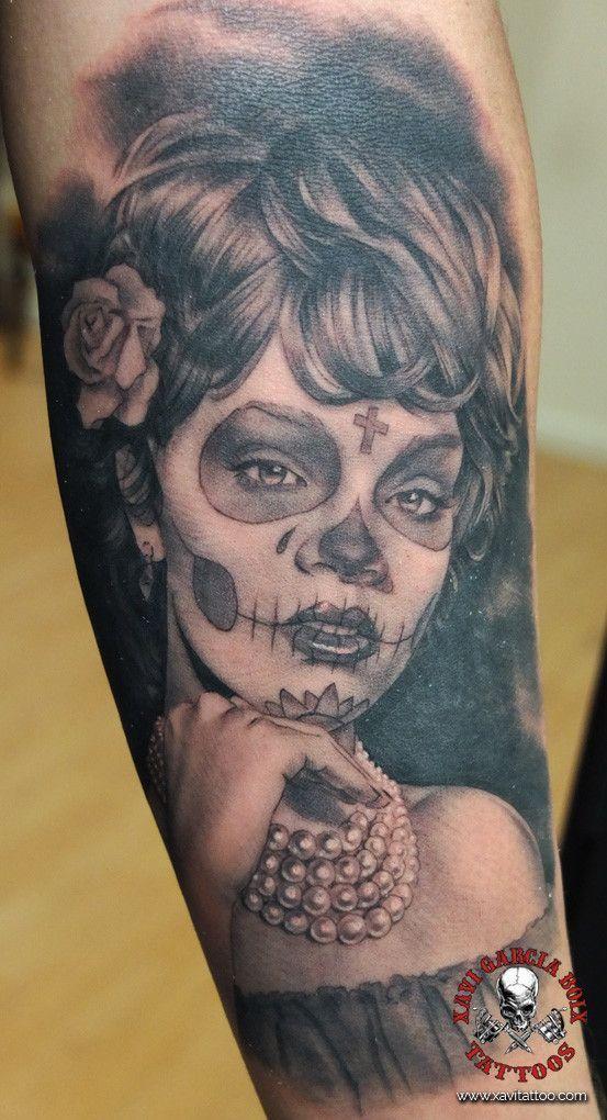 xavi garcia boix tattoo retrato realismo portrait realism tatuaje valencia varios random girls chicas sugar skull calavera mexicana catrina
